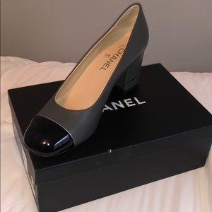 Chanel patent toe pumps